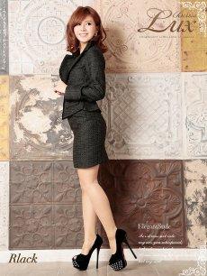 画像4: 【Belsia Lux】ゴールド美ラメ入ツイード品格セレブスーツ/フォーマルスーツ/ベルシアリュクス/全2色(S/M/L) (4)