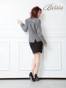 画像4: 【Belsia】大きいサイズ完備!!MIXツイード2ボタンキャバスーツ パール付ポケット2pスーツ/式スーツ 女性 フォーマルにも【ベルシア】(S/M/L/XL)(ブラック) (4)