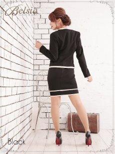 画像5: XLサイズ追加!! 【BELSIA】美セレブワンピーススーツ フォーマルスーツやナイトスーツにバッチリ ベルシア ノーカラーワンピーススーツ 式スーツ 女性 フォーマル(S/M/L/XL)(ブラック) (5)