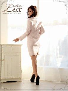 画像3: 【BelsiaLux】上品春ツイード! 膝丈ノーカラーmixツイードキャバスーツ 2pセットアップキャバスーツ/式スーツ 女性 フォーマルにも【ベルシアリュクス】(S/M/L/XL)(ブラック/ピンク) (3)