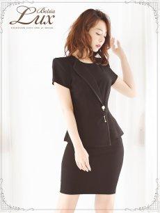 画像5: 【BelsiaLux】オリジナル!パールカフス高級フォーマルok半袖キャバスーツ◎2pセットアップ セレブスーツ【ベルシアリュクス】 (S/M/L/XL)(ブラック),式スーツ 女性 フォーマル (5)