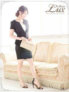 画像2: 【BelsiaLux】フォーマルOK!ノーカラー半袖キャバスーツ ソフトペプラムスーツ【ベルシアリュクス】(S/M/L/XL)(ブラック/ホワイト),式スーツ 女性 フォーマル (2)