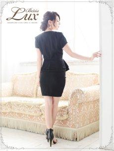 画像3: 【BelsiaLux】フォーマルOK!ノーカラー半袖キャバスーツ ソフトペプラムスーツ【ベルシアリュクス】(S/M/L/XL)(ブラック/ホワイト),式スーツ 女性 フォーマル (3)