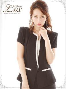 画像4: 【BelsiaLux】清楚Lady!美顔ノーカラーキャバスーツ 半袖スーツ/スーツ フォーマルokスーツ【ベルシアリュクス】(S/M/L/XL)(ブラック) (4)
