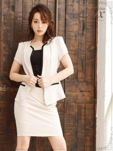 画像5: 【BelsiaLux】清楚Lady!美顔ノーカラーキャバスーツ 半袖スーツ/スーツ フォーマルokベージュスーツ【ベルシアリュクス】(S/M/L/XL)(ベージュ) (5)