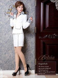 画像4: 【BELSIA】タイトキャバスーツ3点セット/サテンストライプ柄シャツ付き3p(S/M/L)(ブラック/ホワイト) (4)