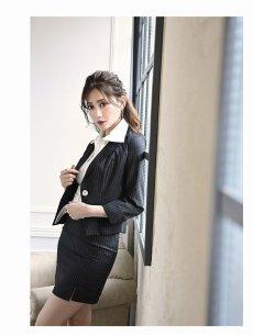 画像4: 【Belsia】大きいサイズ完備!!襟付きノースリーブシャツ付キャバスーツ ストライプ柄3pセットアップスーツ【ベルシア】(S/M/L/XL)(ブラック) (4)