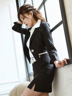 画像5: 【Belsia】大きいサイズ完備!!襟付きノースリーブシャツ付キャバスーツ ストライプ柄3pセットアップスーツ【ベルシア】(S/M/L/XL)(ブラック) (5)