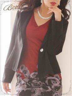 画像4: 【Belsia】大きいサイズ完備!!ぼかし花柄ワンピーススーツ 2pセットアップキャバクラスーツ【ベルシア】(S/M/L/XL)(ブラック) (4)