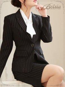 画像5: 【Belsia】大きいサイズ完備!!上質ストライプ柄セットアップス―ツ 膝丈キャバクラスーツ 式スーツ/フォーマルスーツにも【ベルシア】(S/M/L/XL/XXL/XXXL)(ブラック) (5)