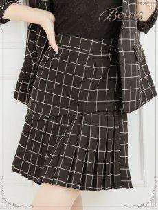画像4: 【Belsia】格子柄プリーツスカートセットアップ 七分袖2pキャバクラスーツ【ベルシア】(S/M/L)(ブラック) (4)