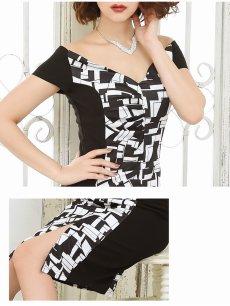 画像3: 【Belsia】大きいサイズ完備!!膝丈モノトーン袖ありミニドレス オフショルダータイトキャバドレス【ベルシア】(S/M/L/XL)(ブラック) (3)
