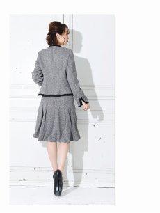 画像3: 【BelsiaLux】大きいサイズ完備!!ソフトツイード裾フリンジ加工スカートキャバスーツ 式スーツ/フォーマルスーツにも【ベルシアリュクス】(S/M/L/XL)(グレー/ブラック) (3)