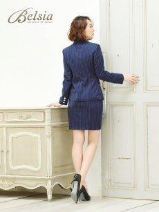 画像3: 【Belsia】大きいサイズ完備!!ストライプ柄セットアップキャバスーツ 2pタイトスカートスーツ【ベルシア】(S/M/L/XL/XXL)(ブラック/ホワイト/ネイビー) (3)