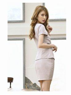 画像3: 【Belsia】ワンカラーベルト風デザイン2Pキャバクラドレス 半袖タイトセットアップドレス【ベルシア】(S/M/L)(レッド/グレー) (3)