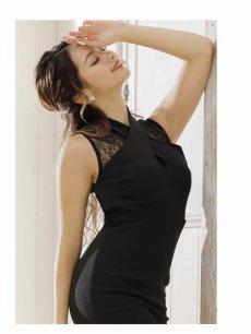 画像3: 【Belsia】クロスネック黒スリットレース膝丈キャバクラドレス ワンカラーノースリーブミニドレス【ベルシア】(S/M/L)(ブラック) (3)