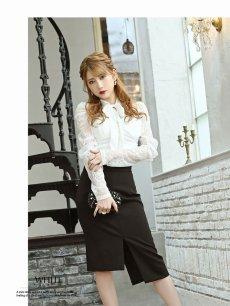 画像5: 【Belsia】ボウタイリボンレース袖付きキャバクラドレス バイカラー2pタイトセットアップドレス【ベルシア】(S/M/L)(ブラック×ベージュ/ホワイト×ブラック) (5)