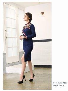 画像2: 【Belsia】トリコロールパイピング袖付きキャバクラドレス ハイネック膝丈タイトミニドレス【ベルシア】(S/M/L)(ネイビー) (2)