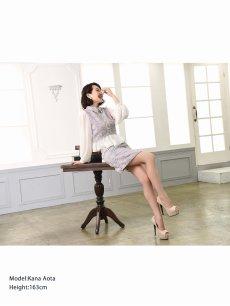 画像2: 【Belsia】襟デザインペプラムキャバクラスーツ 袖付きタイトセットアップスーツ 式スーツ/フォーマルスーツにも【ベルシア】(S/M/L)(アイボリー/ピンク) (2)