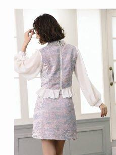 画像3: 【Belsia】襟デザインペプラムキャバクラスーツ 袖付きタイトセットアップスーツ 式スーツ/フォーマルスーツにも【ベルシア】(S/M/L)(アイボリー/ピンク) (3)