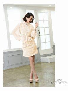 画像5: 【Belsia】襟デザインペプラムキャバクラスーツ 袖付きタイトセットアップスーツ 式スーツ/フォーマルスーツにも【ベルシア】(S/M/L)(アイボリー/ピンク) (5)