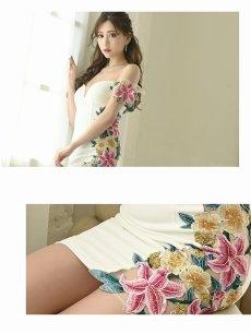 画像3: 【Belsia】3Dフラワーサイドシアーキャバドレス ゆきぽよ 着用キャバクラドレス 花柄ストレッチオフショルミニドレス【ベルシア】(S/M/L)(ホワイト/ブラック) (3)