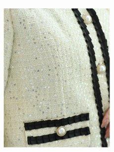 画像4: 【Belsia】ラメツイードノーカラーキャバスーツ 加賀美早紀 着用スーツ サテンリボンミニ丈パイピングセットアップ 式スーツ/フォーマルスーツにも◎【ベルシア】七五三にも!(M/L)(ブラック/ホワイト) (4)