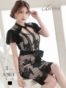 画像1: 刺繍レースシフォン袖付き膝丈キャバドレス【Belsia/ベルシア】(S/M/L)(ブラック) (1)