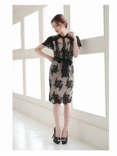 画像2: 刺繍レースシフォン袖付き膝丈キャバドレス【Belsia/ベルシア】(S/M/L)(ブラック) (2)