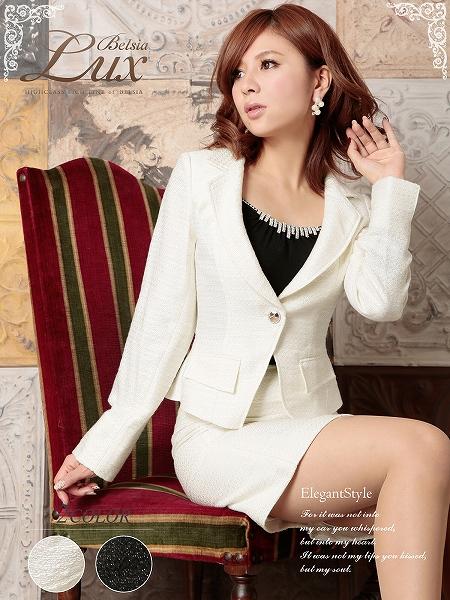 画像1: 【Belsia Lux】ゴールド美ラメ入ツイード品格セレブスーツ/フォーマルスーツ/ベルシアリュクス/全2色(S/M/L) (1)