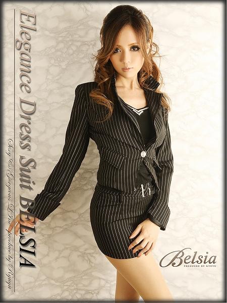 画像1: 【Belsia】美sexyなマイクロミニ 背スピンドルminiストライプ柄キャバスーツ【ベルシア】(S/M/L/XL/XXL)(ブラック) (1)