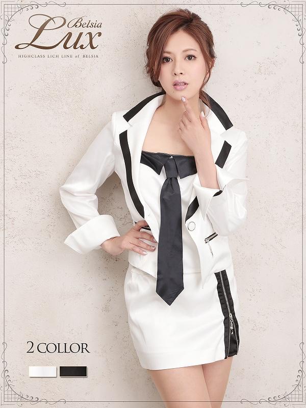 画像1: 【BELSIA LUX】3way!取り外し可ネクタイインナー付き上質sexyスーツ(S/M/L)(黒/白),式スーツ 女性 フォーマル (1)