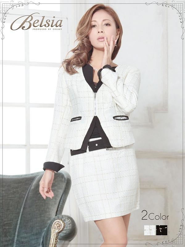 画像1: 【BELSIA】美ライン!チェック柄ツイードセットアップスーツ ベルシア ryuyu ZIPツィードキャバスーツ (S/M/L)(黒/白),式スーツ 女性 フォーマル (1)