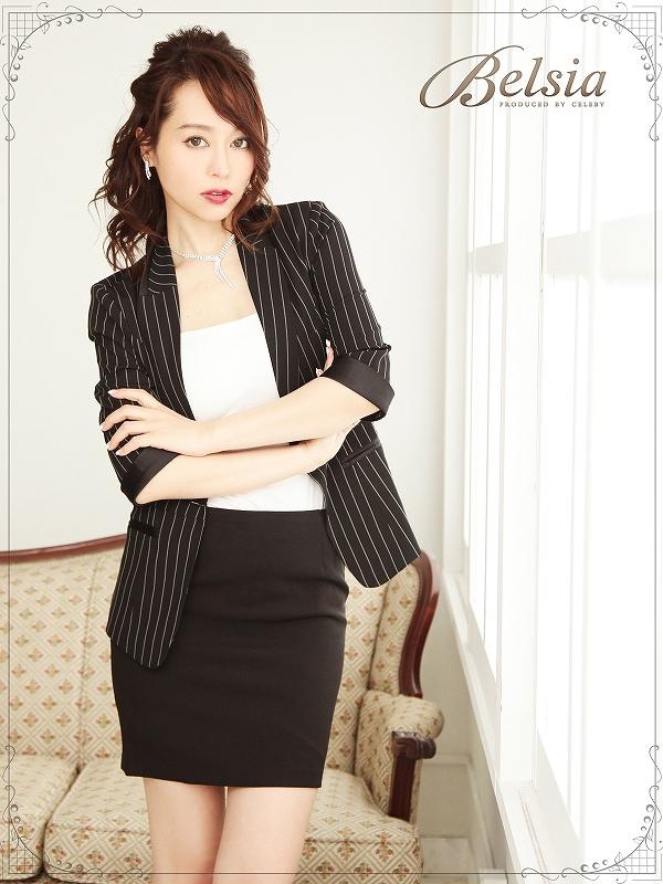 画像1: 【BELSIA】ストライプ柄使える!半袖キャバスーツ ベルシア ryuyu 五分袖スーツ/ビジネススーツにも (S/M/L/XL)(ブラック) (1)