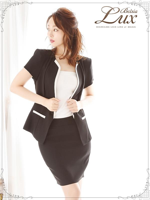 画像1: 【BelsiaLux】清楚Lady!美顔ノーカラーキャバスーツ 半袖スーツ/スーツ フォーマルokスーツ【ベルシアリュクス】(S/M/L/XL)(ブラック) (1)