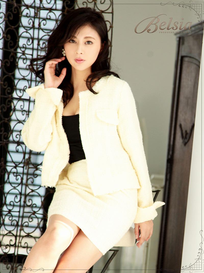 画像1: 【Belsia】品格lineノーカラーツイードキャバスーツ 2pセットアップスーツ/式スーツ 女性 フォーマルにも【ベルシア】(S/M/L)(ホワイト) (1)