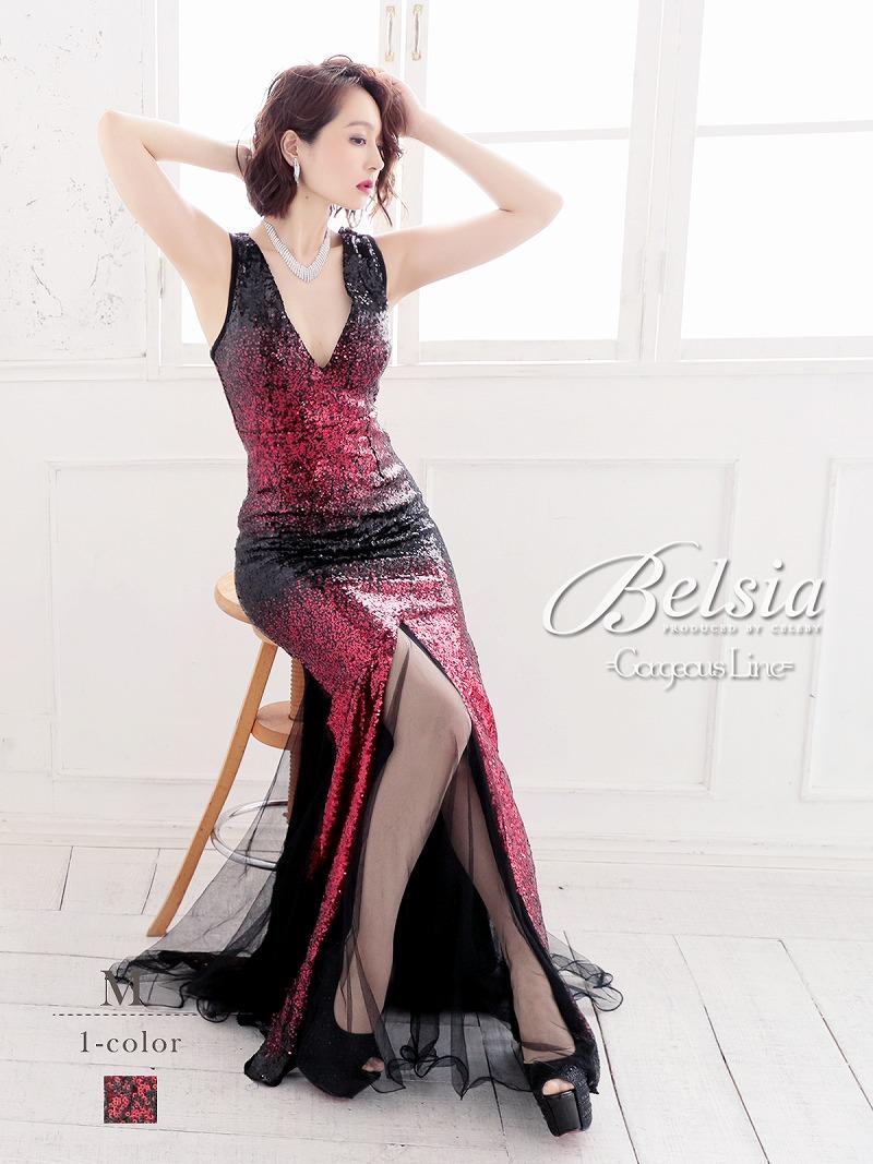 画像1: 【Belsia】グラデーション煌スパンコールロングドレス スリット入りマーメイドキャバクラドレス【ベルシア】(M)(レッド) (1)