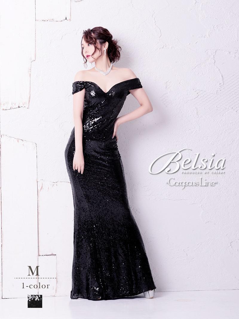 画像1: 【Belsia】オフショル煌スパンコールロングドレス マーメイドキャバクラロングドレス【ベルシア】(M)(ブラック) (1)