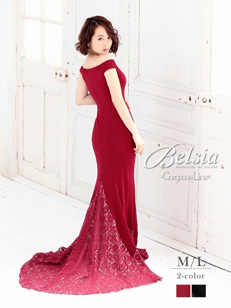画像1: 【Belsia】オフショル裾レースロングドレス マーメイドロングドレス【ベルシア】(M/L)(ブラック/レッド) (1)