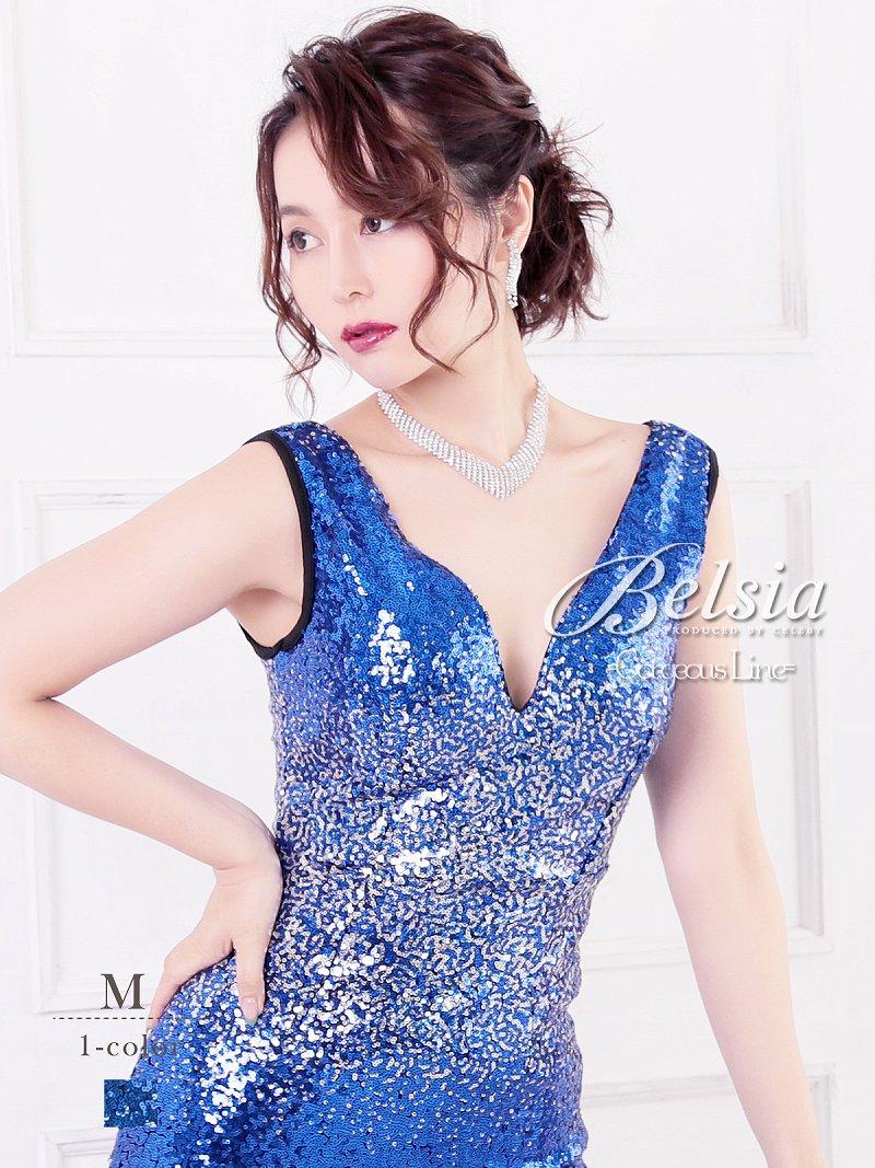 画像1: 【Belsia】スパンコール深Vカットマーメイドロングドレス ノースリーブキャバクラロングドレス【ベルシア】(M)(ブルー) (1)