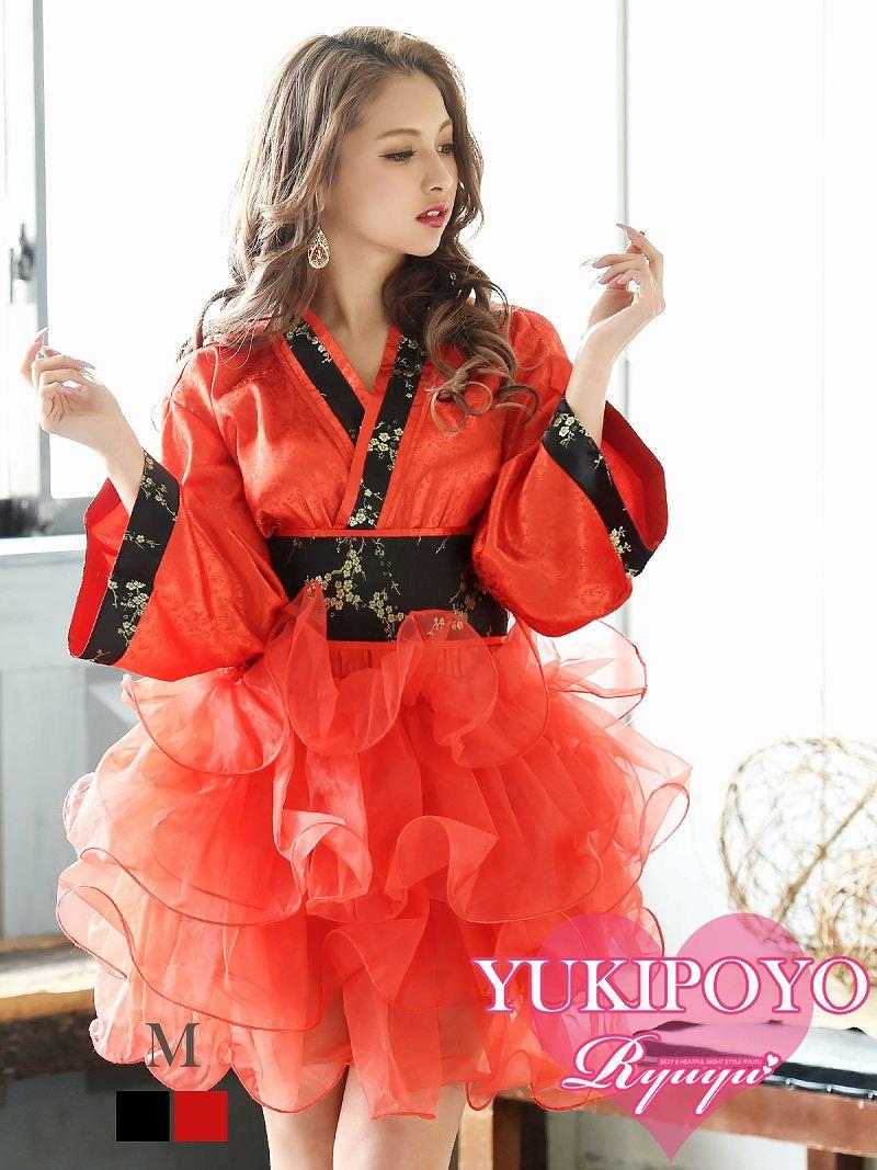 画像1: 【流遊】セットアップ着物ドレス ゆきぽよ 着用【Ryuyu】チュールスカート2p和柄ドレス(M)(ブラック/レッド) (1)