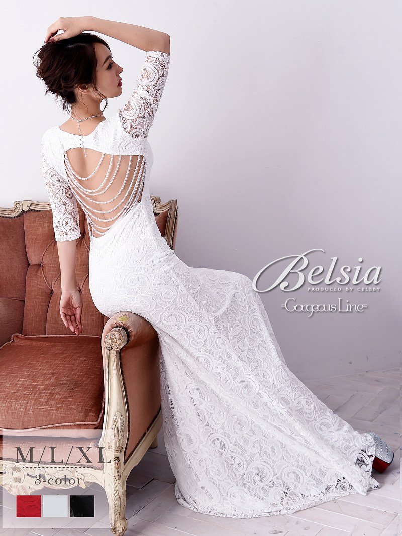 画像1: 【Belsia】大きいサイズ完備!!背中見せ総レースロングドレス 五分袖タイトキャバクラドレス【ベルシア】(M/L/XL)(ブラック/ホワイト/レッド) (1)