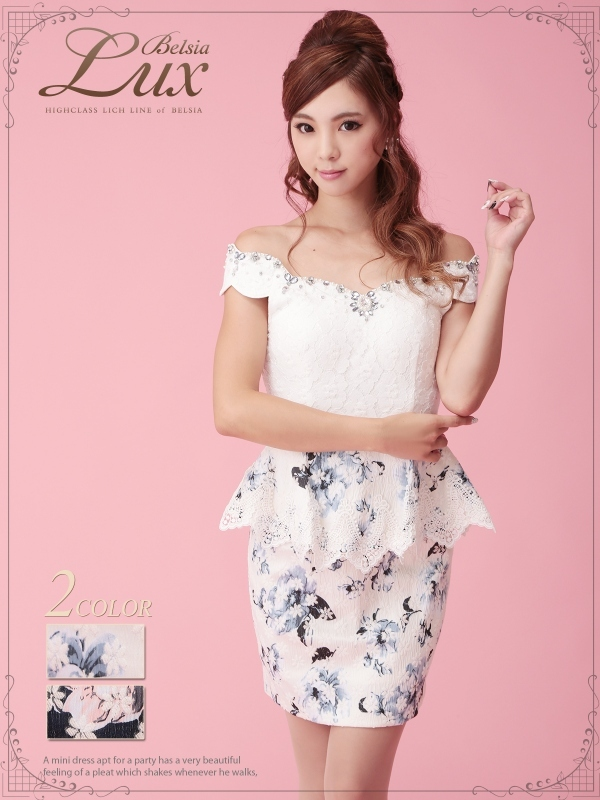 Belsia Lux】癒レース切替え花柄オフショルミニドレス/ペプラム