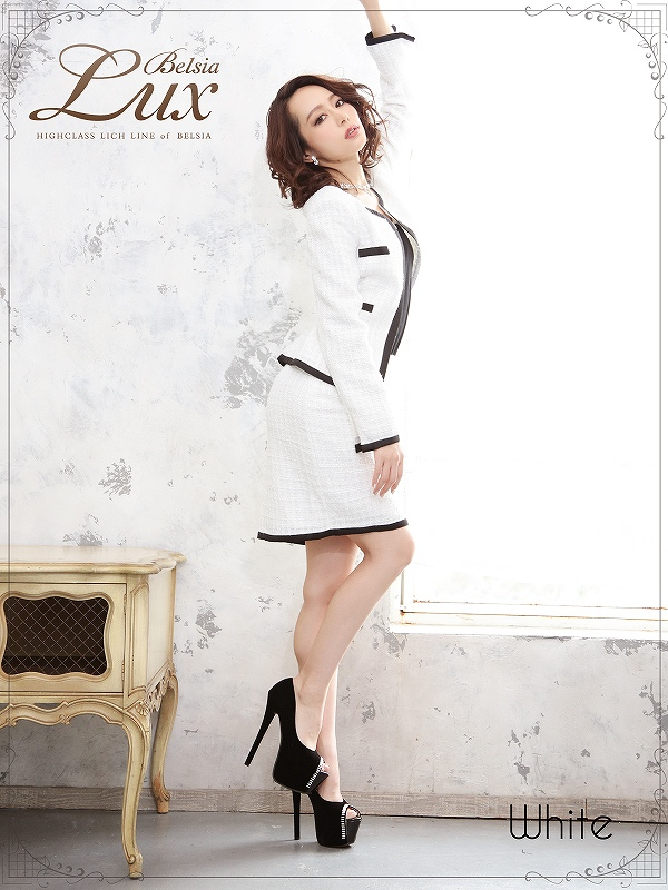4206b11d55f78  Belsia Lux ノーカラーツイードペプラムスーツ ryuyu ベルシアリュクス ツイード2Pセットアップスーツ フォーマルスーツにも◎  (M L LL)(黒 白)  bl3117-st